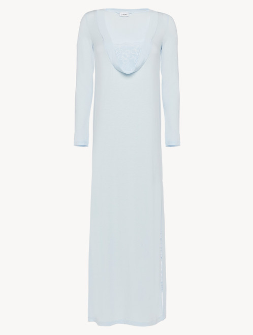 Nightgown in blue modal stretch with Leavers lace