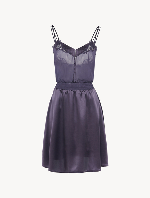 Nightgown in violet silk satin and embroidered tulle