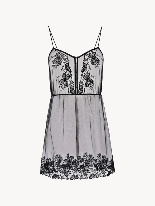 Slip Dress in black embroidered tulle