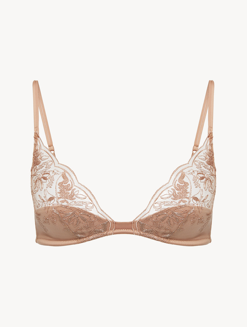 Triangle Bra in beige with embroidered tulle