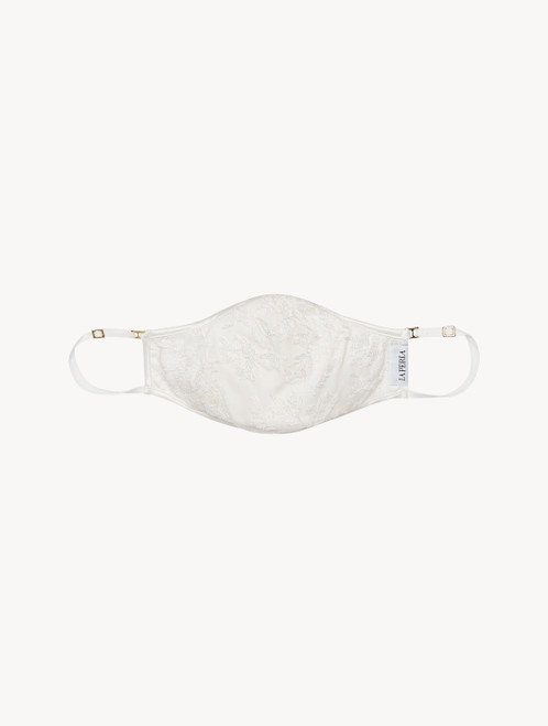 Cream cotton face covering with embroidered tulle