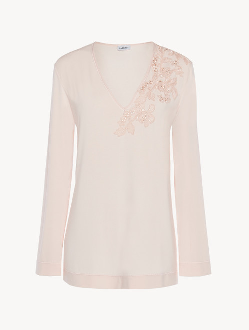 Long-sleeved top in pink modal