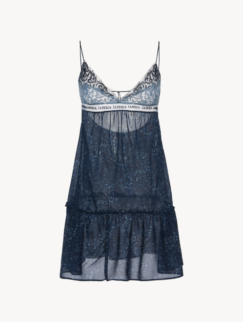 Babydoll in blue silk georgette with Leavers lace