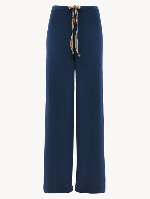 Trousers in blue modal silk jersey