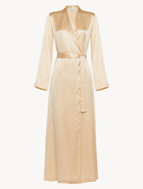 Silk long robe in beige