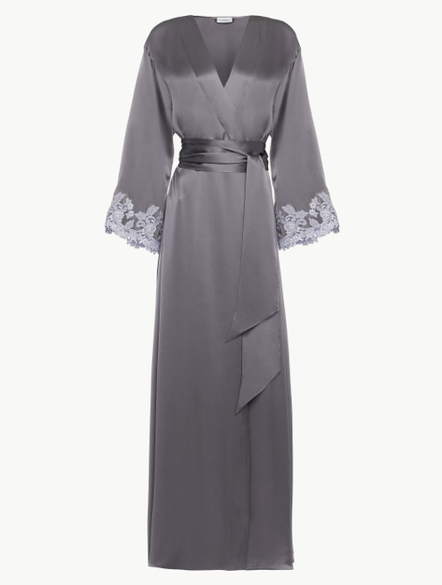 Grey silk long robe with lurex frastaglio