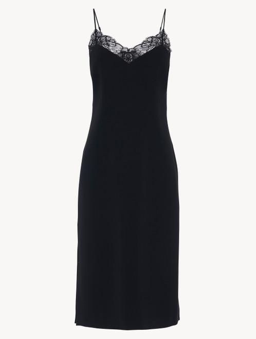 Slip Dress in black Italian silk with Jacquard lace