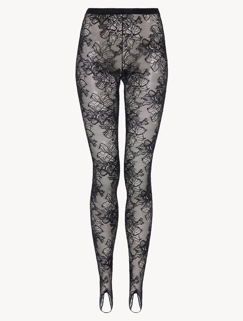 Leggings in black Italian Jacquard lace