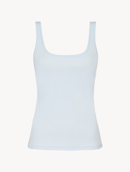 Tank top in blue grey stretch cotton