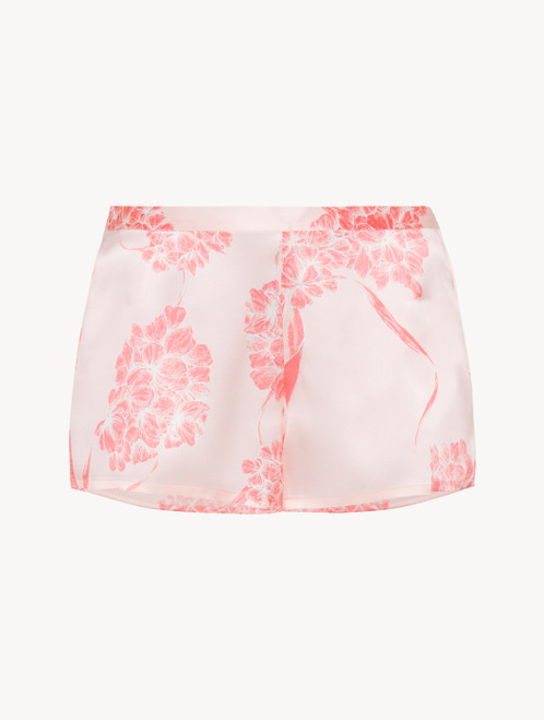 Silk shorts with soft pink florals