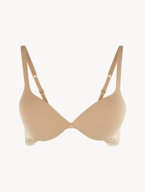 Nude cotton push-up bra