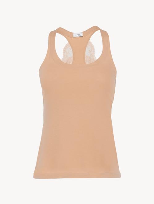 Nude cotton vest top