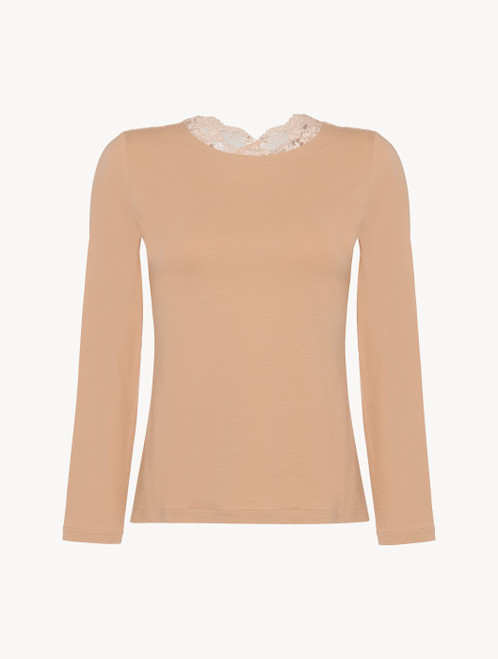 Nude cotton long-sleeved top