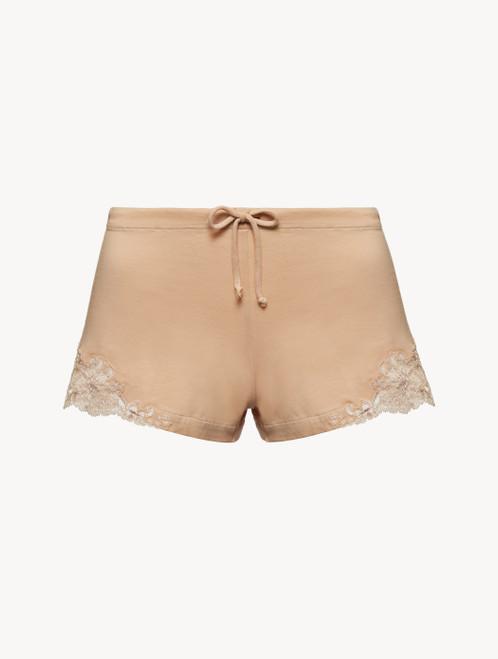 Nude cotton sleep shorts