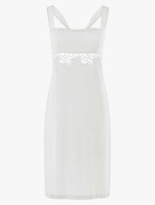 Short nightgown in white modal stretch with Leavers lace and silk chiffon