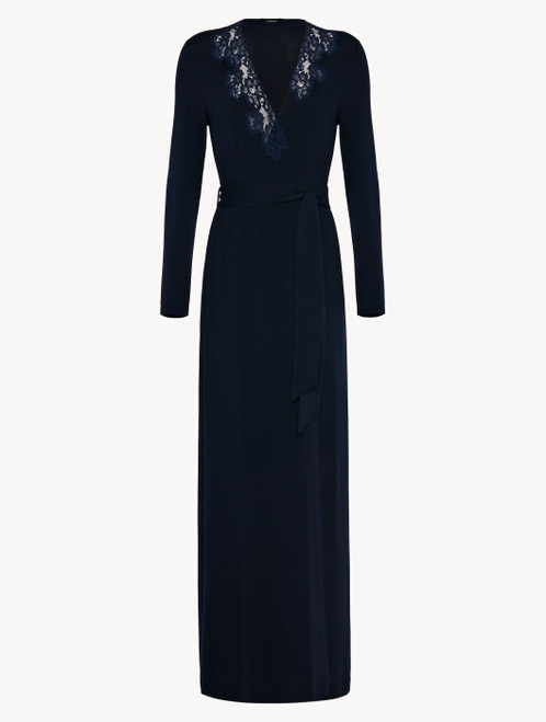 Long robe in blue modal stretch with Leavers lace and silk chiffon