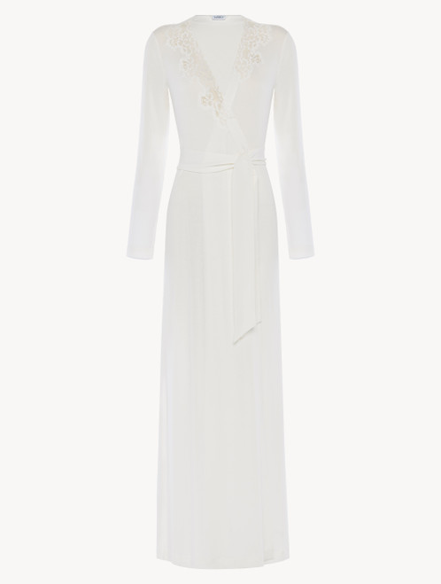 Long robe in white modal stretch with Leavers lace and silk chiffon