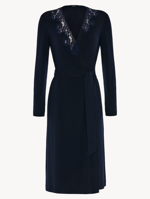 Short robe in blue modal stretch with Leavers lace and silk chiffon