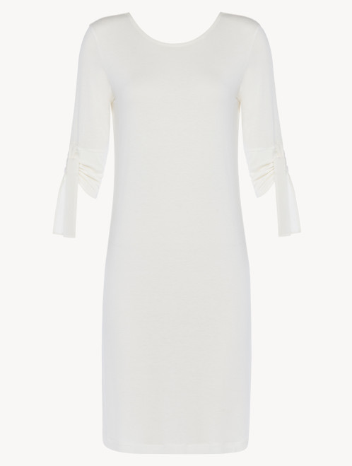T-dress in white modal stretch with Leavers lace and silk chiffon
