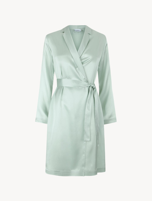 Mint green silk short robe