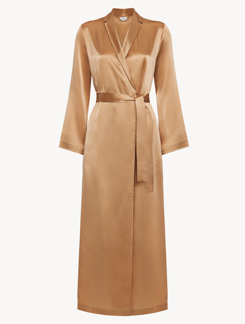 Caramel silk long robe