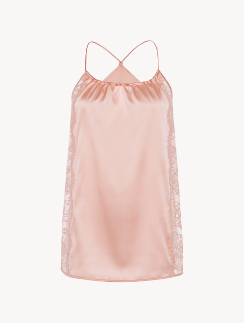 Pink silk halterneck camisole with Leavers lace trim