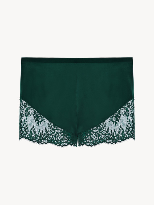 Green silk pyjama shorts with Leavers lace trim