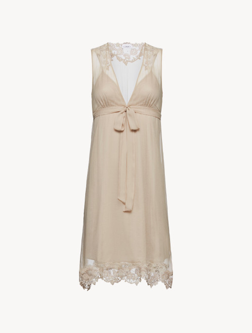 Soft beige cotton and chiffon short nightgown