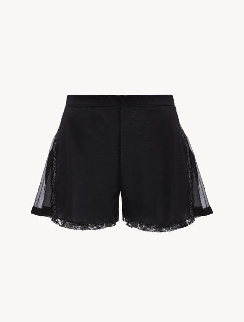 Black cotton and chiffon shorts