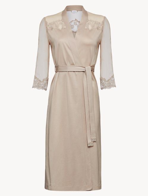 Soft beige silk chiffon short robe