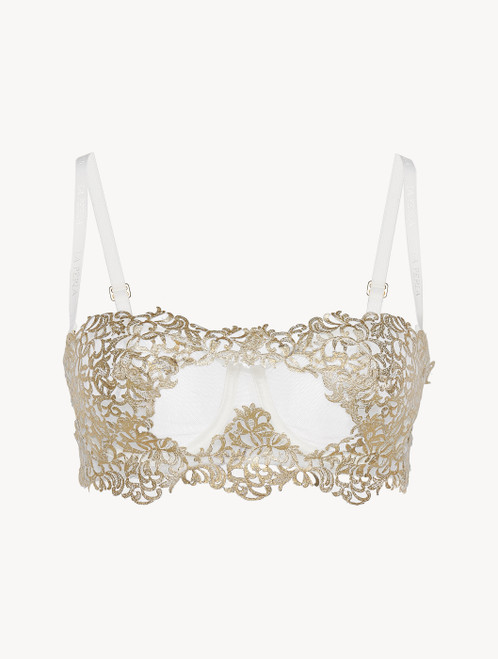 Off-white underwired bra with metallic macramé