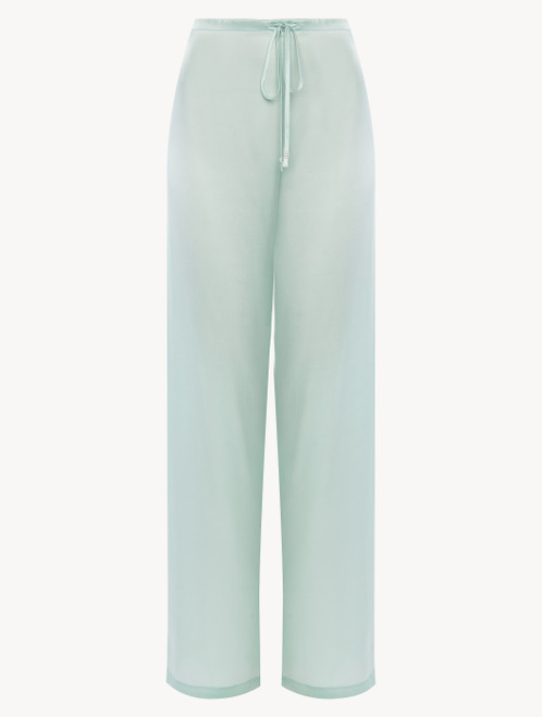 Mint green silk trousers