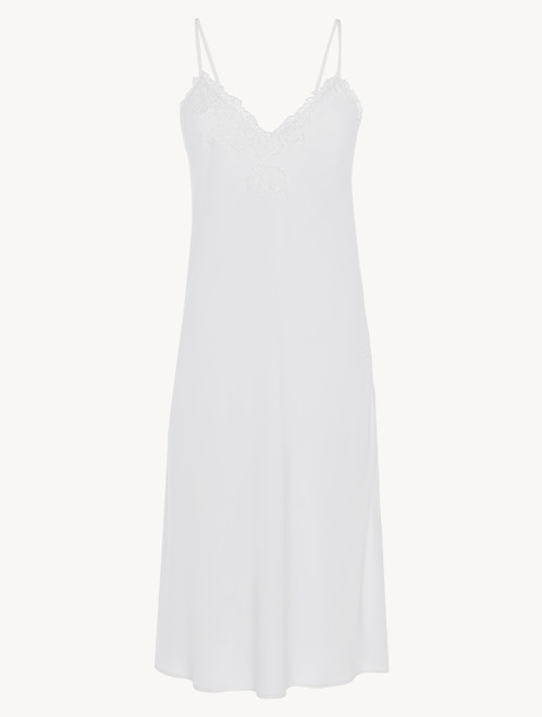 Off-white viscose short nightgown with tulle