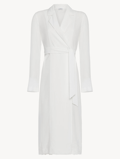 Off-white viscose short robe with tulle