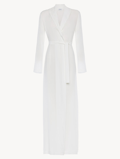 Off-white viscose long robe with tulle
