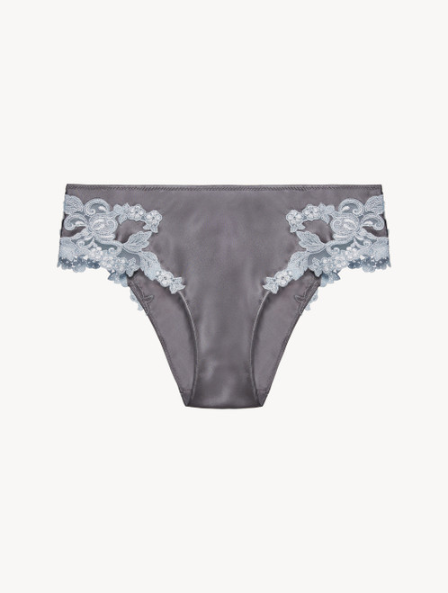 Grey silk medium briefs with lurex frastaglio