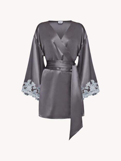 Grey silk short robe with lurex frastaglio