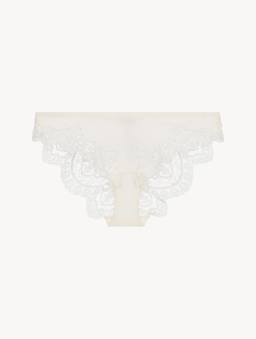 Off-white matt Lycraembroidered tulle medium brief