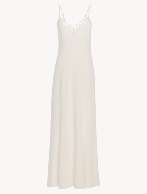 Off-white tulle and silk-georgette long nightgown