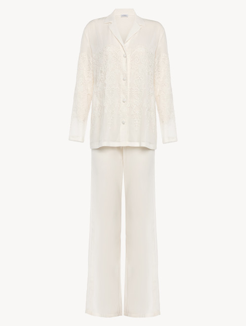 Off-white tulle and silk-georgette pyjamas