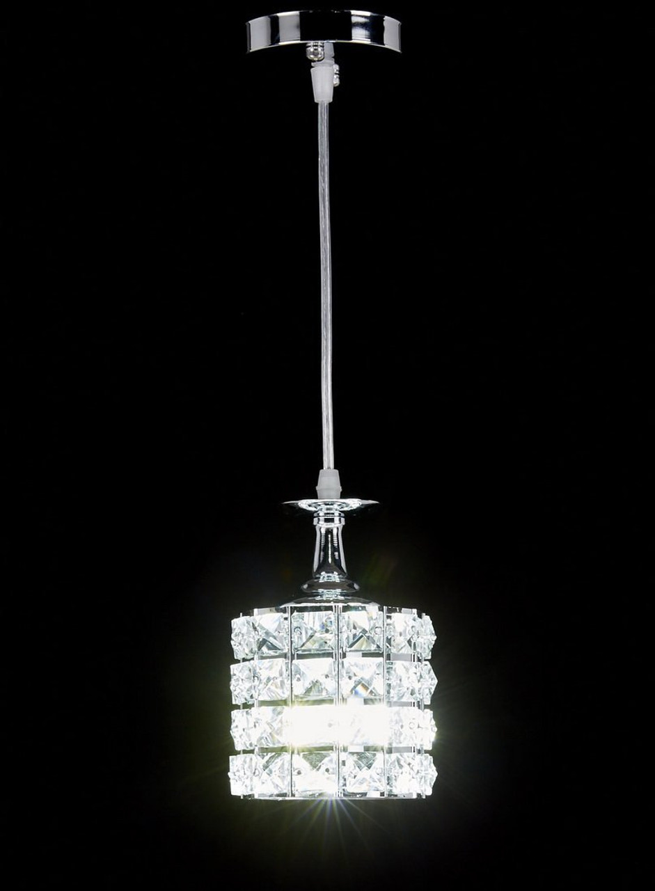 pretty nice fa386 a482b New Galaxy 1-light Chrome Finish Metal Shade Crystal Chandelier Hanging  Pendant Ceiling Lamp Fixture, #8310