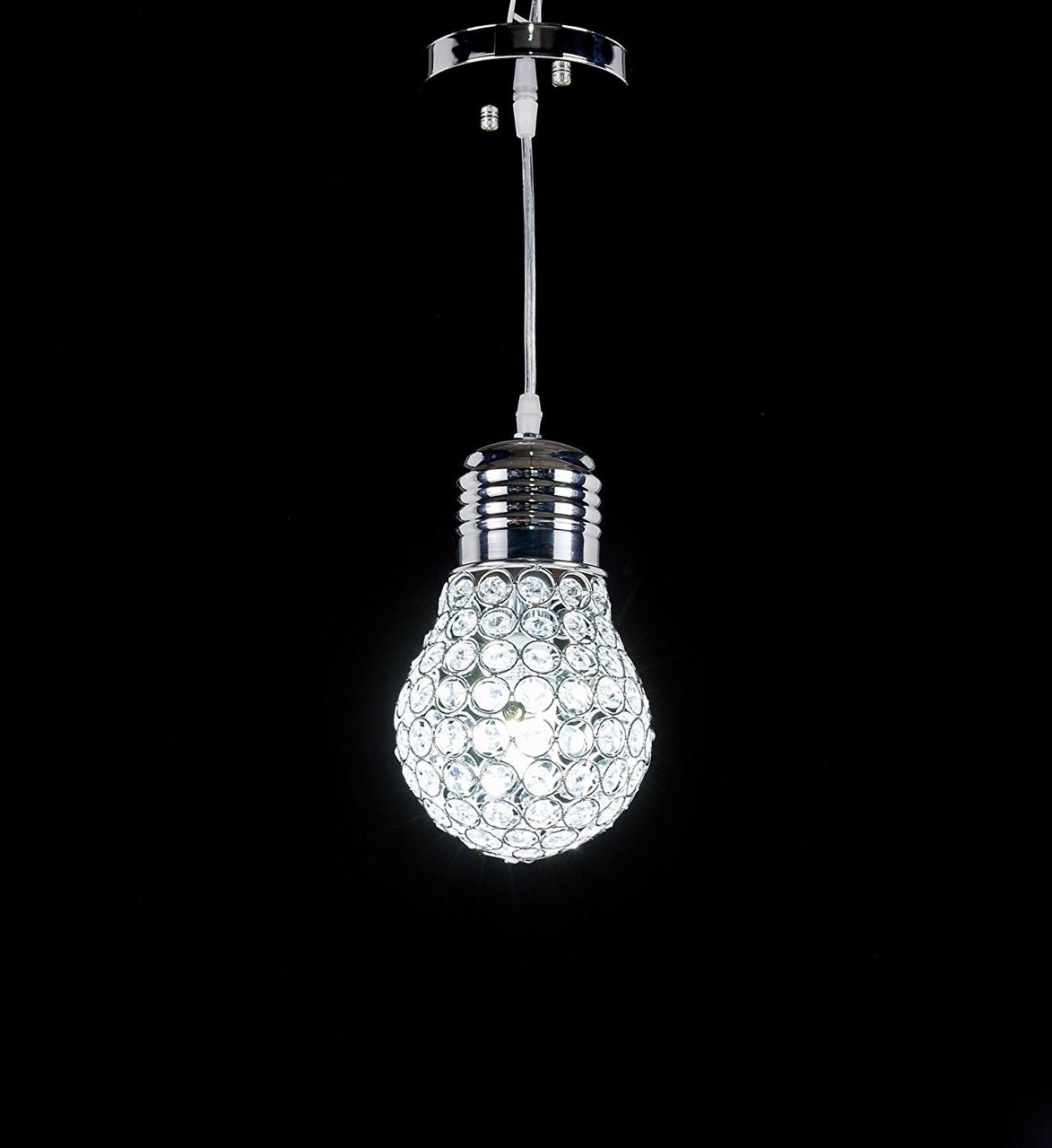 new arrival 76db5 3d27b New Galaxy 1-light Chrome Finish Metal Shade Crystal Chandelier Hanging  Pendant Ceiling Lamp Fixture