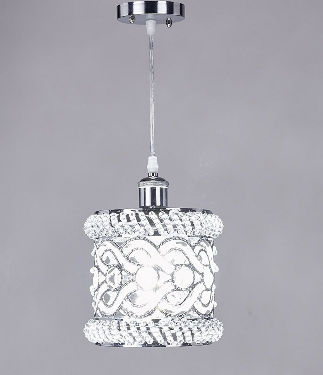 New galaxy 1 light chrome finish metal shade crystal chandelier hanging pendant ceiling lamp