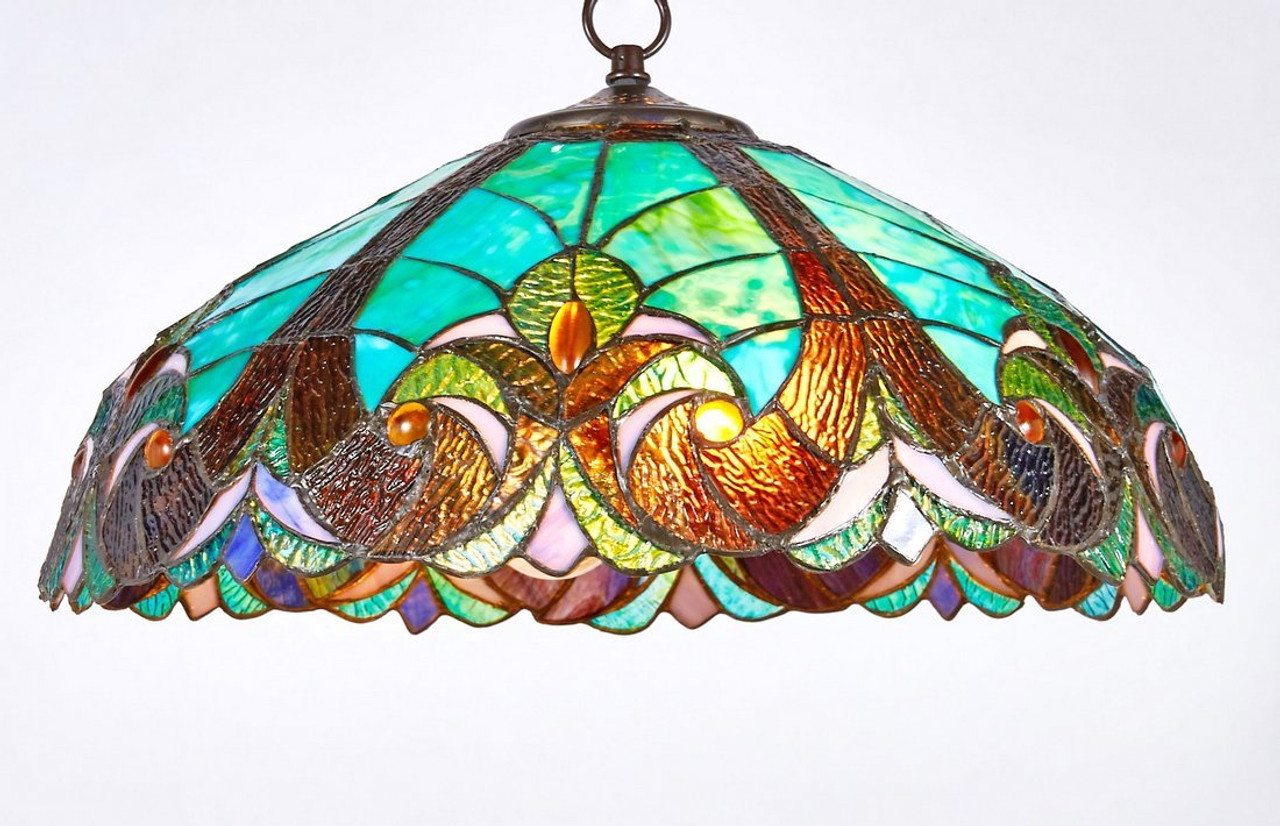 New galaxy lighting tiffany style stained glass hanging lamp ceiling fixture tl16012 18 inch wide