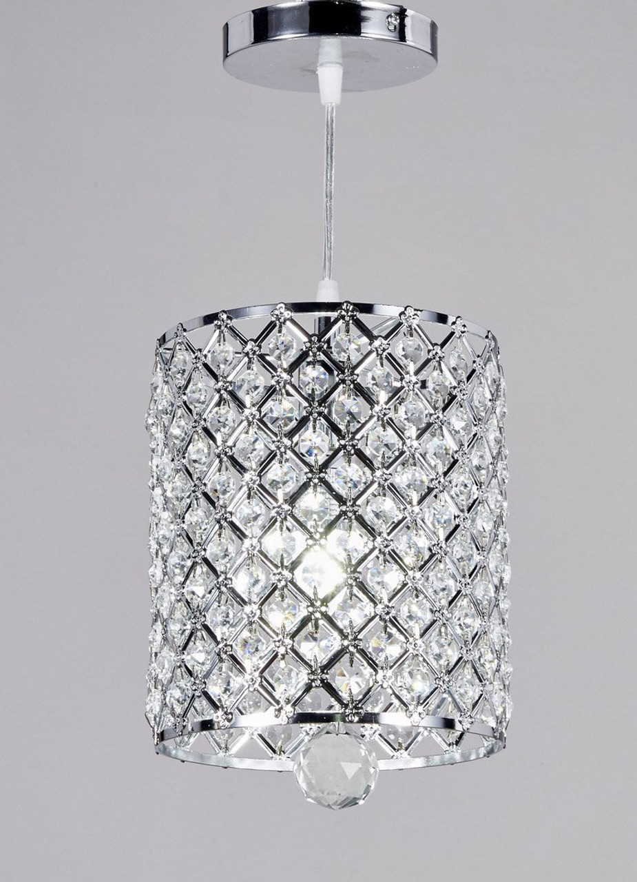 New galaxy lighting chrome finish 1 light round metal shade crystal chandelier hanging pendant ceiling lamp fixture 359