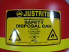 Justrite 14762 2 Gallon, Polyethylene, Flammable Safety Disposal Can