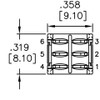 Technical Drawing for Taiway brand toggle #200-MDP1-T1B1M2QE - Sub-Mini DPDT On On Switch - PCB Mount
