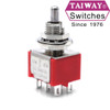 Taiway brand toggle #100-DP3-T200B1M1QE - DPDT On Off On Switch - Solder Lug - Short Shaft