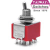 Taiway brand toggle #100-3P1-T200B1M1QE - 3PDT On On Switch - Solder Lug - Short Shaft