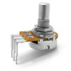 Side view of 16mm potentiometer - 6mm smooth shaft - right angle PCB mount